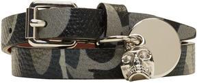 Alexander McQueen Grey Camo Skull Charm Double Wrap Bracelet