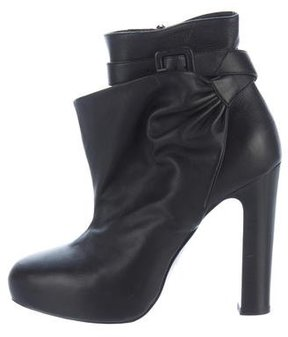 Hermes Leather Buckle-Accented Ankle Boots