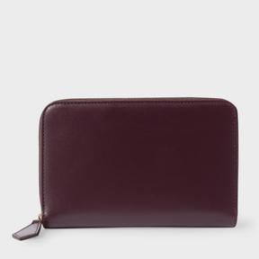 Paul Smith Women's Medium Damson Leather Monogrammed Zip-Around Purse