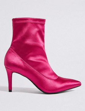 Marks and Spencer Stiletto Heel Side Zip Stretch Ankle Boots