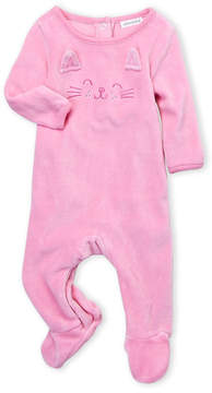 Absorba Newborn Girls) Velour Kitty Face Footie