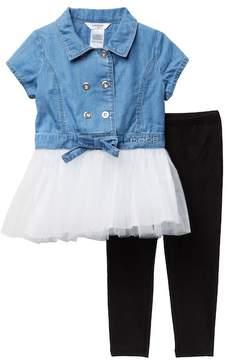 Bebe Denim & Tulle Tunic & Leggings Set (Toddler & Little Girls)