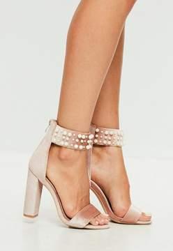 Missguided Pink Pearl Strap Velvet Sandal Heels