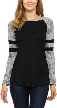Celeste Black Stripe Contrast Raglan Top - Women