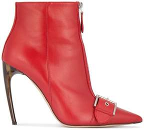 Alexander McQueen Red Leather buckled 115 ankle boots