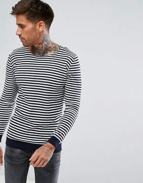Pull&Bear Nautical Striped Sweater In Navy