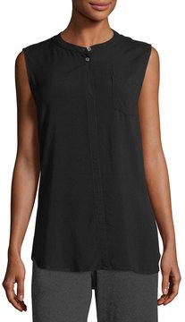 Allen Allen Mandarin-Collar Sleeveless Shirt