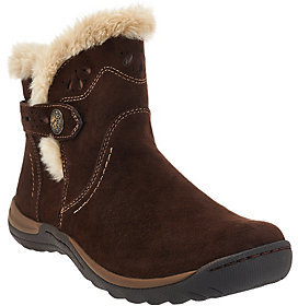 Earth As Is Origins Leather Ankle Boots w/ Faux Fur Trim - Karlene