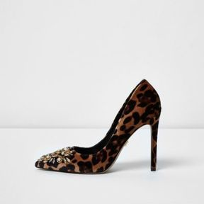 River Island Womens Brown leopard print embellished pumps
