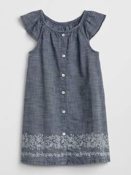 Gap Print Flutter Chambray Dress