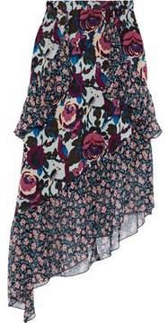 Anna Sui Asymmetric Ruffled Floral-Print Silk-Chiffon Skirt
