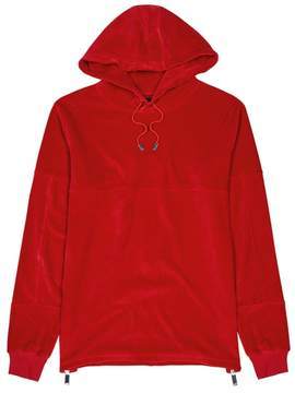 Blood Brother Red Hooded Velour Sweatshirt