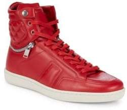Saint Laurent Perforated-Toe Leather High-Top Sneakers