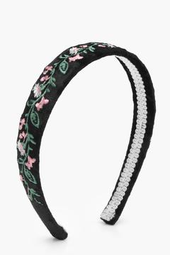 boohoo Sophie Velvet Floral Embroidered Headband