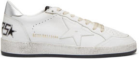 Golden Goose Deluxe Brand White and Silver Ball Star Sneakers