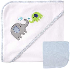 Luvable Friends 30'' x 30'' White & Blue Elephant Fleece Hooded Towel & Washcloth