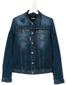 DSQUARED2 TEEN faded denim jacket