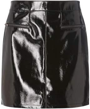 Dorothy Perkins Black Vinyl Zip Mini Skirt