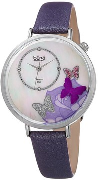 Burgi Mother Of Pearl Butterfly Dial Ladies Watch