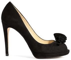 Karen Millen Women's Suede Frill Peep Toe High Heel Pumps
