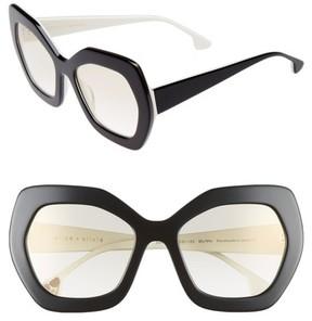 Alice + Olivia Women's Dinah 55Mm Butterfly Sunglasses - Black/ White