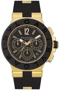 Bvlgari Diagono Black Dial Chronograph 18kt Yellow Gold Rubber Men's Watch