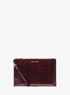 Michael Kors Jet Set Extra-Large Snakeskin Clutch - PURPLE - STYLE