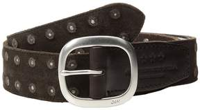 John Varvatos Distressed Suede Belt With Studs Men's Belts