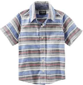 Osh Kosh Boys 4-12 Short Sleeve Button-Front Shirt