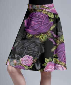 Lily Black & Purple Floral A-Line Skirt - Women & Plus