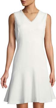 Donna Ricco Crochet-Trimmed V-Neck Flounce Dress