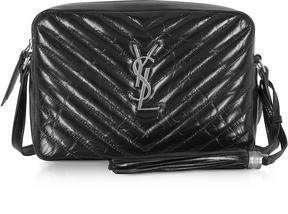 Saint Laurent Medium Lou Black Quilted patent leather Shoulder Bag - BLACK - STYLE
