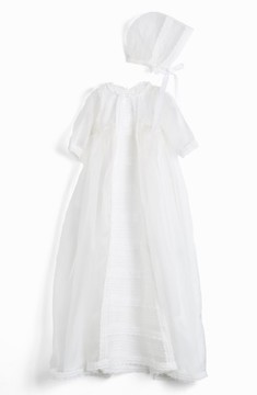 Isabel Garreton Infant 'Caress' Silk Organza Christening Gown & Bonnet