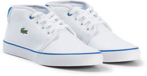 Lacoste White and Blue Ampthill Junior Trainers