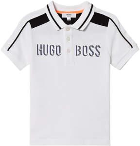 BOSS White Branded Pique Polo