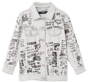 MANGO Printed light denim jacket