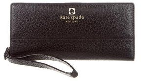 Kate Spade Pebbled Leather Wristlet Wallet - BLACK - STYLE