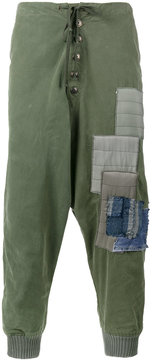 Greg Lauren army tent patchwork track pants