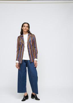 Aalto Brown Stripe Tailored Panel Jacket