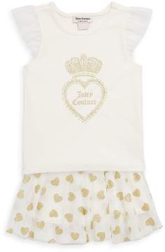 Juicy Couture Baby's Two-Piece Metallic Graphic Top and Skirt Set