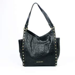 Michael Kors Black Leather Newbury Medium Chain Shoulder Tote Purse - BLACKS - STYLE
