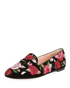 Kate Spade Swinton Floral-Embroidered Velvet Flat