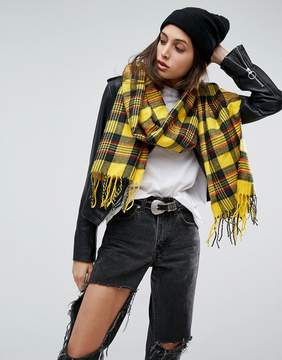 Asos Long Woven Bright Yellow Plaid Scarf With Tassels