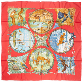 Hermes Women's Vintage Red Saisons Scarf 90