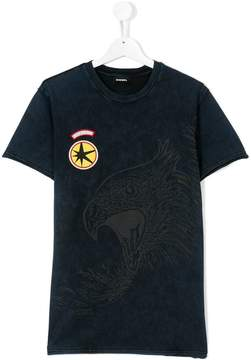 Diesel Teen stone-washed eagle T-shirt
