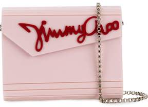 Jimmy Choo rosewater pink and red Candy clutch