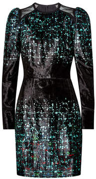 Elie Saab Printed Velvet Dress