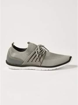 Topman Mens Grey Gray Knit Drift Lace Up Sneakers