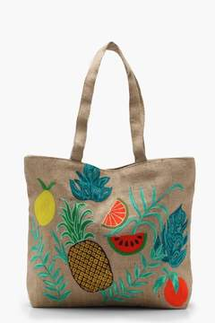 boohoo Embroidery Tropical Beach Bag