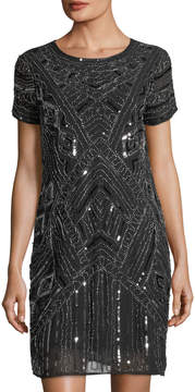 Neiman Marcus Beaded Chiffon A-Line Dress